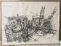 62x46 cm-es Rudolf Hradil jelzett litográfia exclusive réz keretben