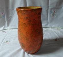 Tófej kerámia váza (narancssárga, vintage / retro) 2.