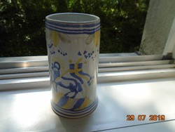 AGNUS DEI  kézzel festett szignózott vallásos mintával ANTIK majolika dísz korsó