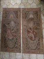 Antik kézi gobelin falikárpit / faliszőnyeg pár