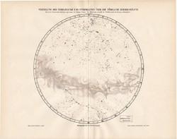 Csillagködök és csillaghalmazok az északi égbolton, térkép 1896, csillagászat, csillag, ég, tejút