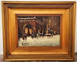 Hangulatos olajfestmény Téli Utcarészlet festő lásd szignó EREDETI GARANCIÁVAL !!!