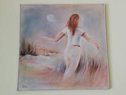 Acsa Szücs Imre képzőművész tengerparti női portré olajkép