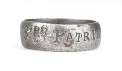 0X750 Antik feliratos fém gyűrű PRO PATRIA