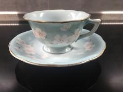 Bakos Éva herendi porcelánfestő cseresznyevirágos kávéscsészéi