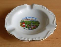 Ausztria Hermagor emlék aranyozott porcelán dísz hamutál átm. 9,5 cm (1/p)