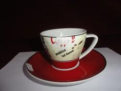 Német reklám kávéscsésze + alátét. Az arabica kávét reklámozza.