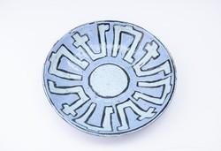 Retro kék falitál - falitányér - falidísz - asztalközép - iparművész kerámia