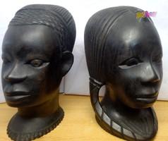 Afrikai faszobor páros fiú-lány. Dél afrikai művészi kézműves alkotás.