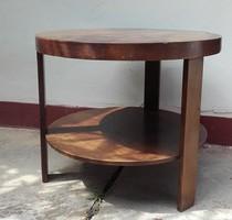 Antik art deco kerek,három  lábú szalon asztal