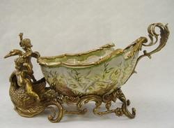 Puttós-madaras porcelán -bronz tál-