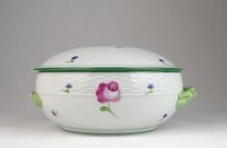 0T973 Antik Herendi porcelán leveses tál