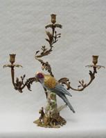 Papagájos bronz-porcelán gyertyatartó