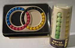 Bábel torony+Varázs Gyűrű logikai játék 1982 bontatlan csomagolás