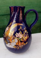 Dúsan aranyozott, nagy kobaltkék kancsó, váza .25 cm