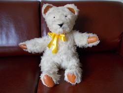 Antik nagy méretű szalma töltetű maci gyapjú bundával , bőr fülekkel és mancsokkal, 65 cm