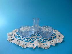 Régi ritka kék színes üveg sótartó, fűszertartó