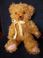 Old cute long-haired glass-eyed teddy bear, 45 cm
