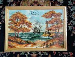 Ásványos kép őszi fákkal, borostyános, tájat ábrázoló festmény