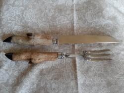 ASJ jelzésű őzláb markolatú hús szervírozó villa, kés