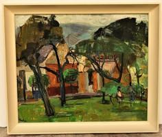 Farkas Lídia (1910 - 1985) Udvar c. Képcsarnokos olajfestménye 66x56cm Eredeti Garanciával !!