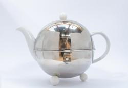 Német art deco bauhaus jugendstil bécsi melegen tartó fém termosz és benne porcelán teáskanna