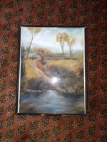 Szép fali kép festmény pasztell színekkel 35x27 cm