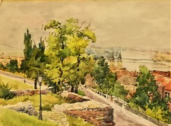 Ismeretlen festő Budai látkép a Gellért hegyről látkép 40-50-es évek EREDETI GARANCIÁVAL !