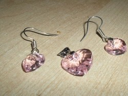 Púder Rózsaszín ezüst- fehérarany Medál + ajándék Fülbevaló Szett