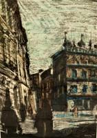 Tavaszy Noémi ( 1927-2018) Lublini főtér c.olajpasztell festménye 74x54cm EREDETI GARANCIÁVAL !