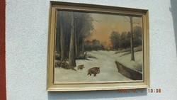 Neogrády Antal (1861 - 1942) Téli erdő vaddisznókkal