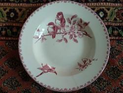 antik Pavori Saargemond tányér, madárkás porcelán