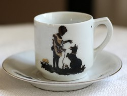 Gyermekcsésze szett, századfordulós német porcelán