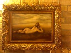 Antik olaj-vászon akt festmény