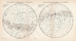 Északi és déli csillagos ég térkép 1906, eredeti, német nyelvű, csillagászat, csillag, Tejút, égbolt
