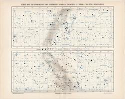 Egyenlítői zóna csillagos ég térkép 1906, eredeti, német, csillagászat, csillag, égbolt, észak, dél