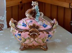 1800-as évekből zólyomi majolika kínáló, bonbonier, fedeles tartó