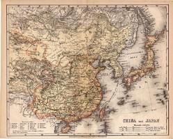 Kína és Japán térkép 1871, lexikon melléklet, német nyelvű, eredeti, XIX. század, Meyers, Ázsia