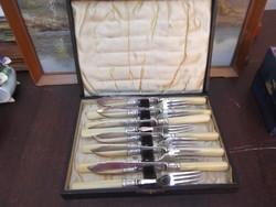Antik 6 db-os kés-villa szett eredeti fa dobozában!