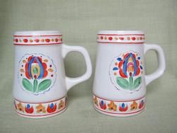 Gránit kerámia kézzel festett virágmintás  korsó pár