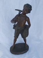 19 sz., antik, szignózott figura.