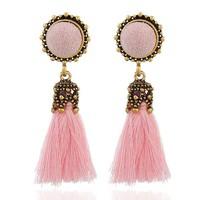 Rózsaszín ! Aranyozott Acrylic Selyem Szállal Díszített Bohókás Fülbevaló Pár