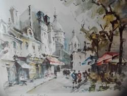 Párizsi Montmartre, akvarell nyomat keretezve, üvegezve. 30 x 38 cm