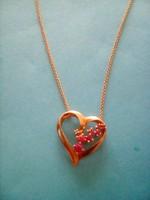 Rubin köves aranyozott ezüst medál+lánc