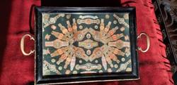 Antik tálca eredeti Habana szivarcimke gyűjtemény Vilmos császárral 1900