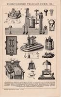 Elektromos telegráf III., IV., egyszínű nyomat 1892, német nyelvű, eredeti, távíró, Hughes, Denison