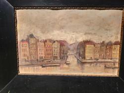 Holland festő: Kikötő részlet