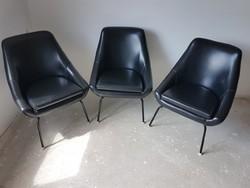 Retro műbőr fotelek - 3 db fémlábú fotel