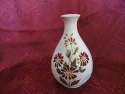 Zsolnay porcelán krémszínű váza. Mérete: 11,5 x 7 cm. Gyönyörű barnás virággal.