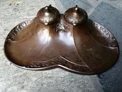Szecessziós bronz tintatartó